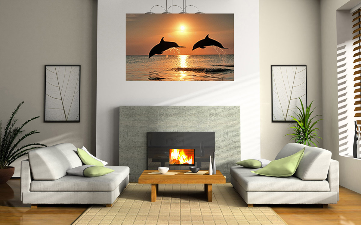 Dolphins above sofa