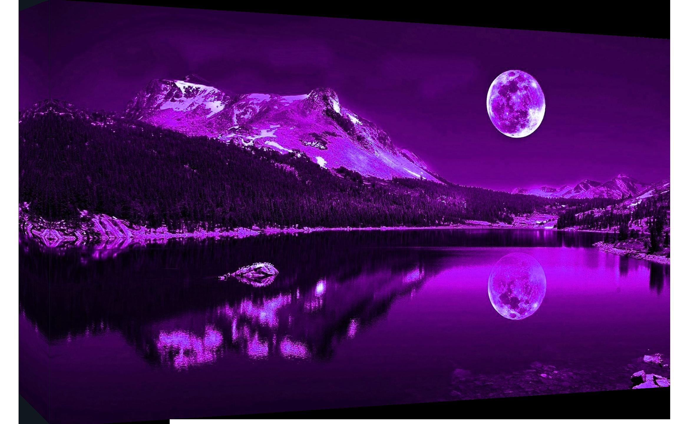 purple plum moonlit lake cotton canvas wall art picture print  a  - item specifics