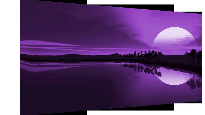 Purple sunset in sea