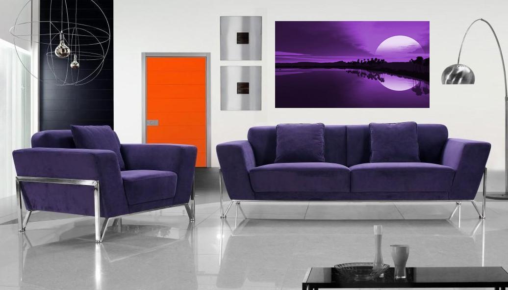 Purple sunset above sofa