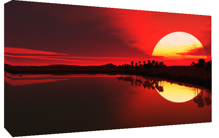 Red sunset in sea