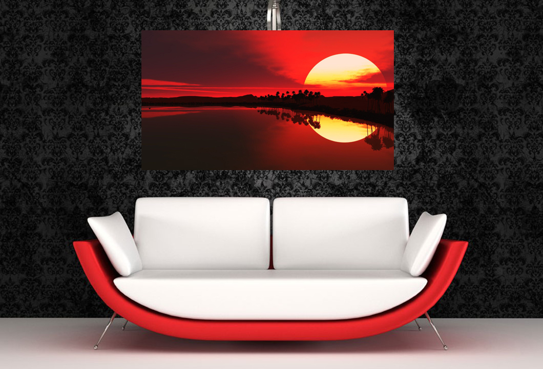 Red sunset above sofa