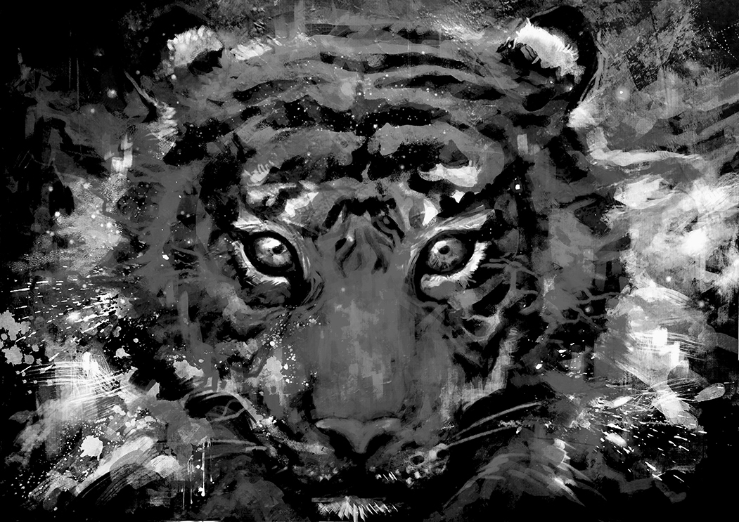 A2 Black /& White Abstract Tiger Canvas Wall Art Picture Print A0 A1