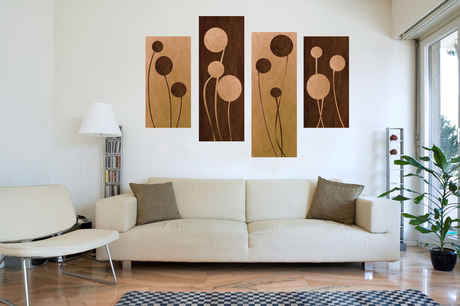 """BROWN CREAM CIRCLE ABSTRACT CANVAS WALL ART PICTURE SPLIT 4 PANEL 59/"""" 150cm"""