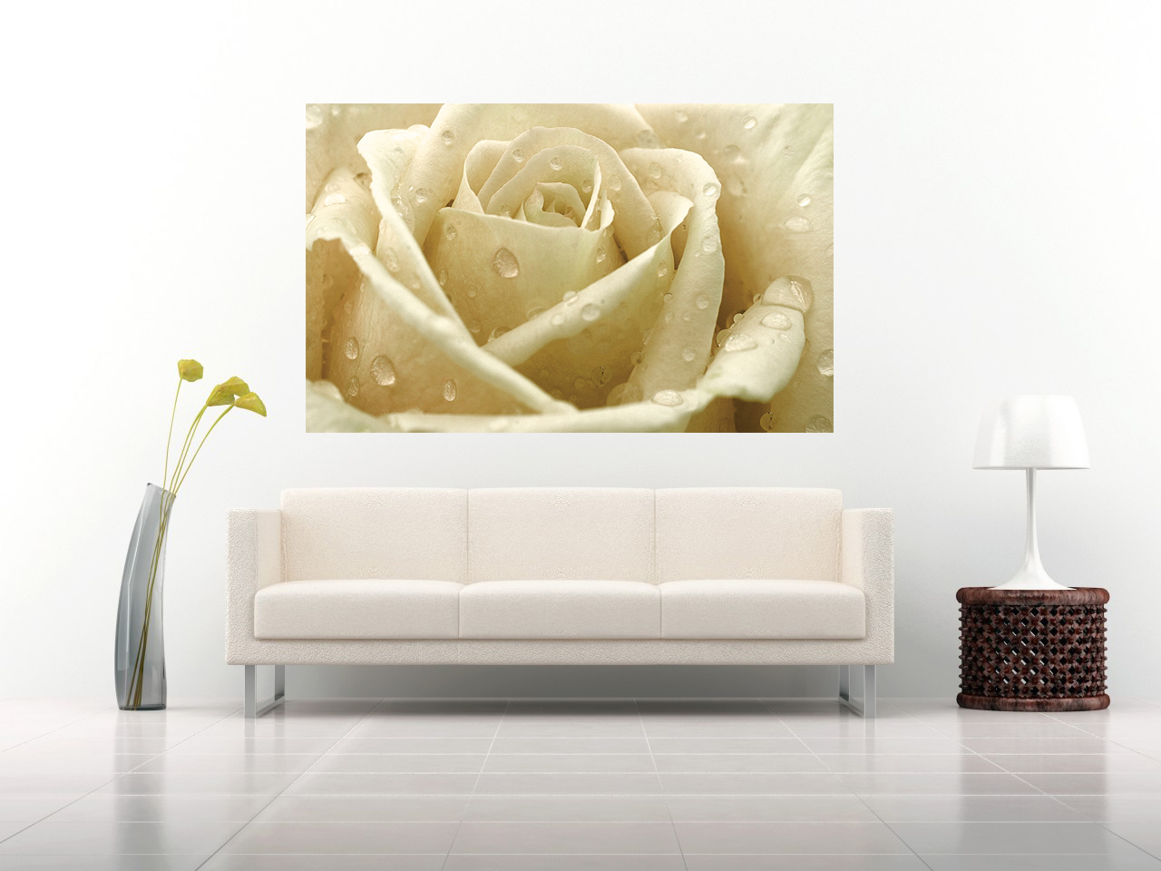 Cream Rose with Raindrops Canvas Wall Art Print 100% cotton A1, A2 ...
