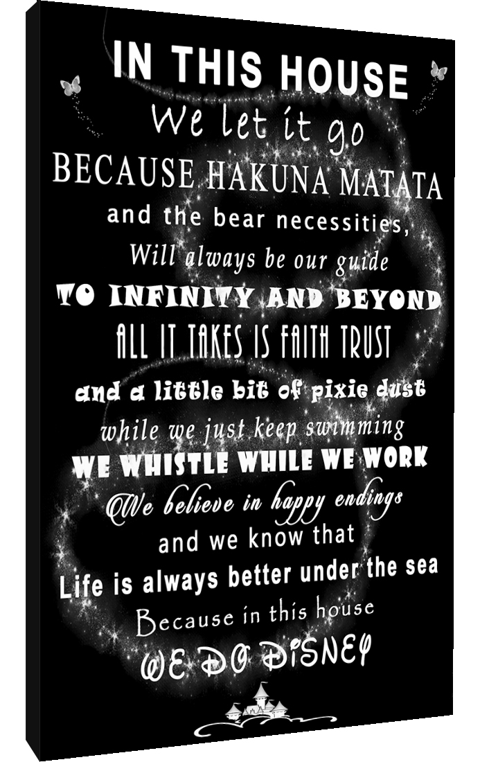 We Let It Go Disney Quote on CANVAS WALL ART Picture Print Black /& White