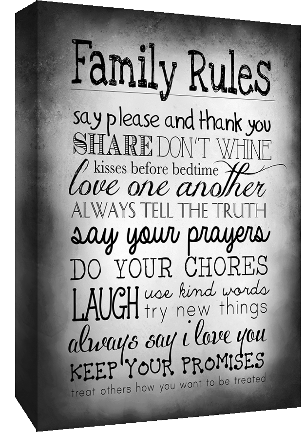 Black White Family Rules Quote Canvas Wall Art Print All Sizes