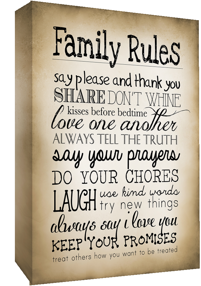 sepia family rules quote canvas wall art picture print all sizes