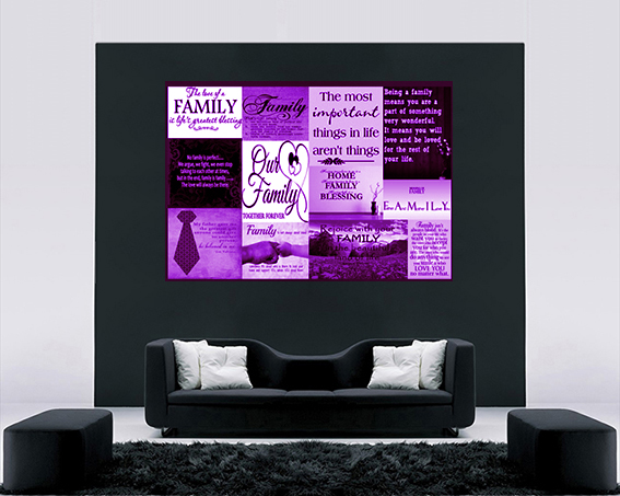 A2 A1 Cotton Canvas Wall Art Picture Purple Family Quotes A0 sizes