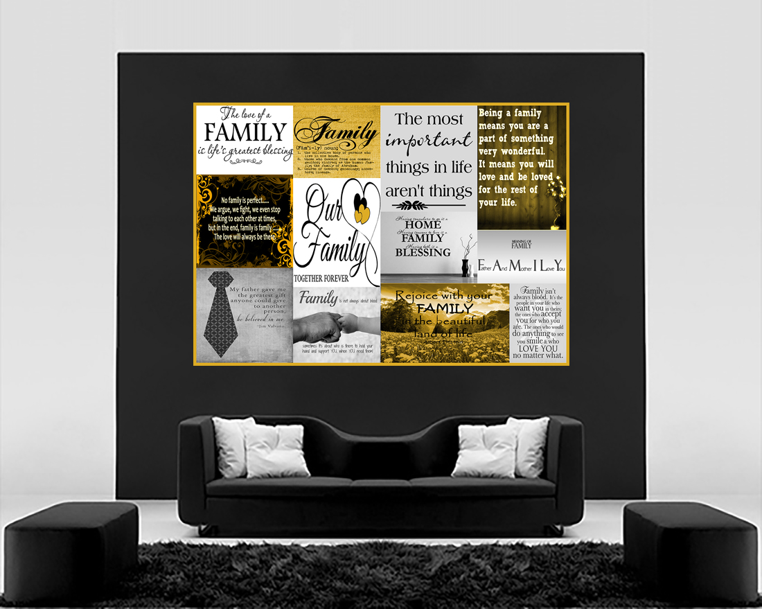 Life Mustard FAMILY QUOTE ALL SIZES Yellow Canvas Wall Art Picture Print