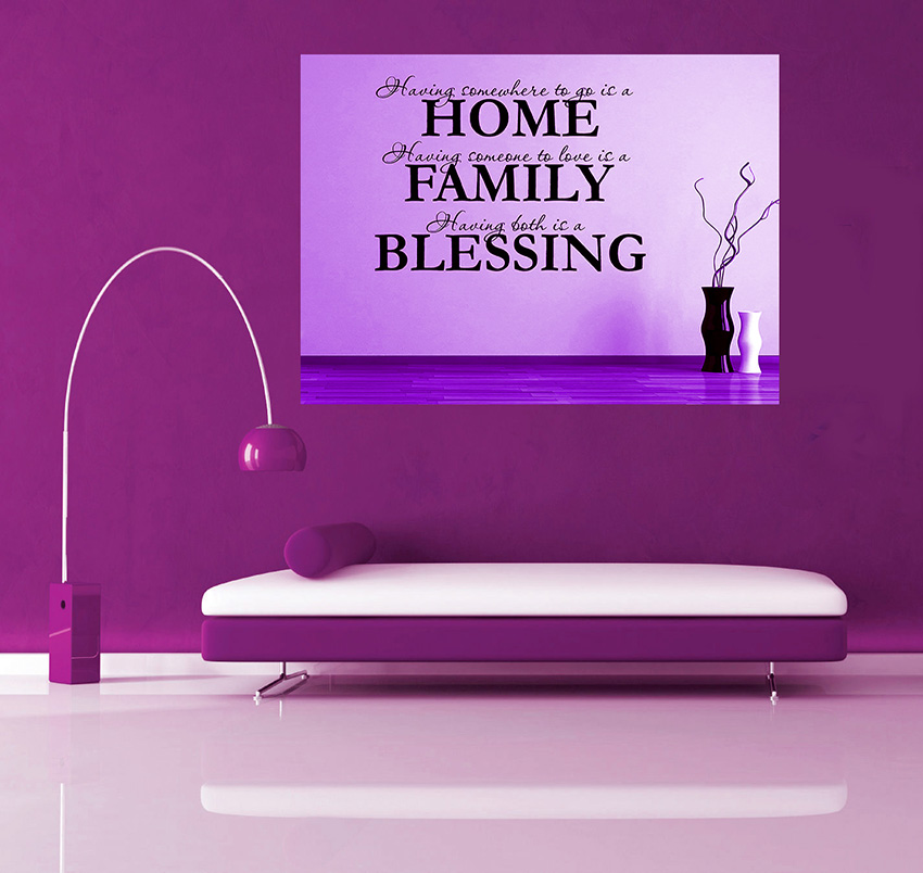 A1 A2 Cotton Canvas Wall Art Picture Purple Family Quotes A0 sizes