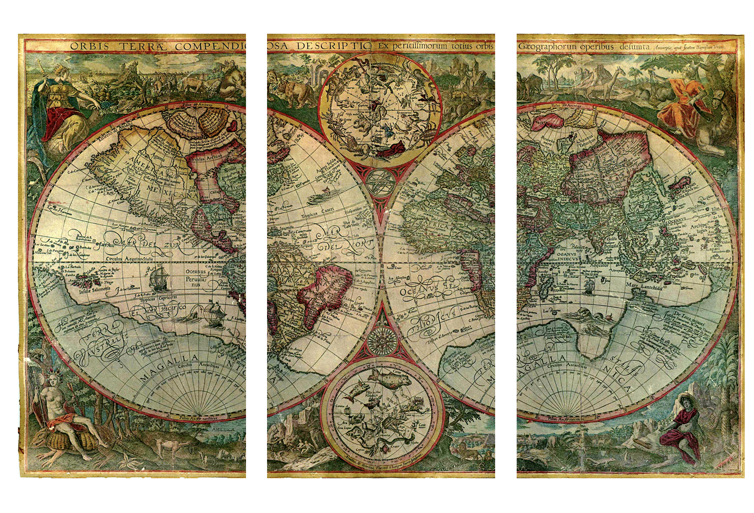 Old World Atlas Latin Maps Flags CANVAS WALL ART PICTURE