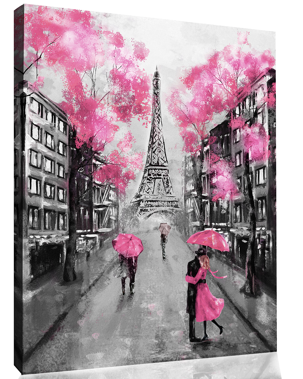 Details about pink black white paris oil painting canvas wall art picture print