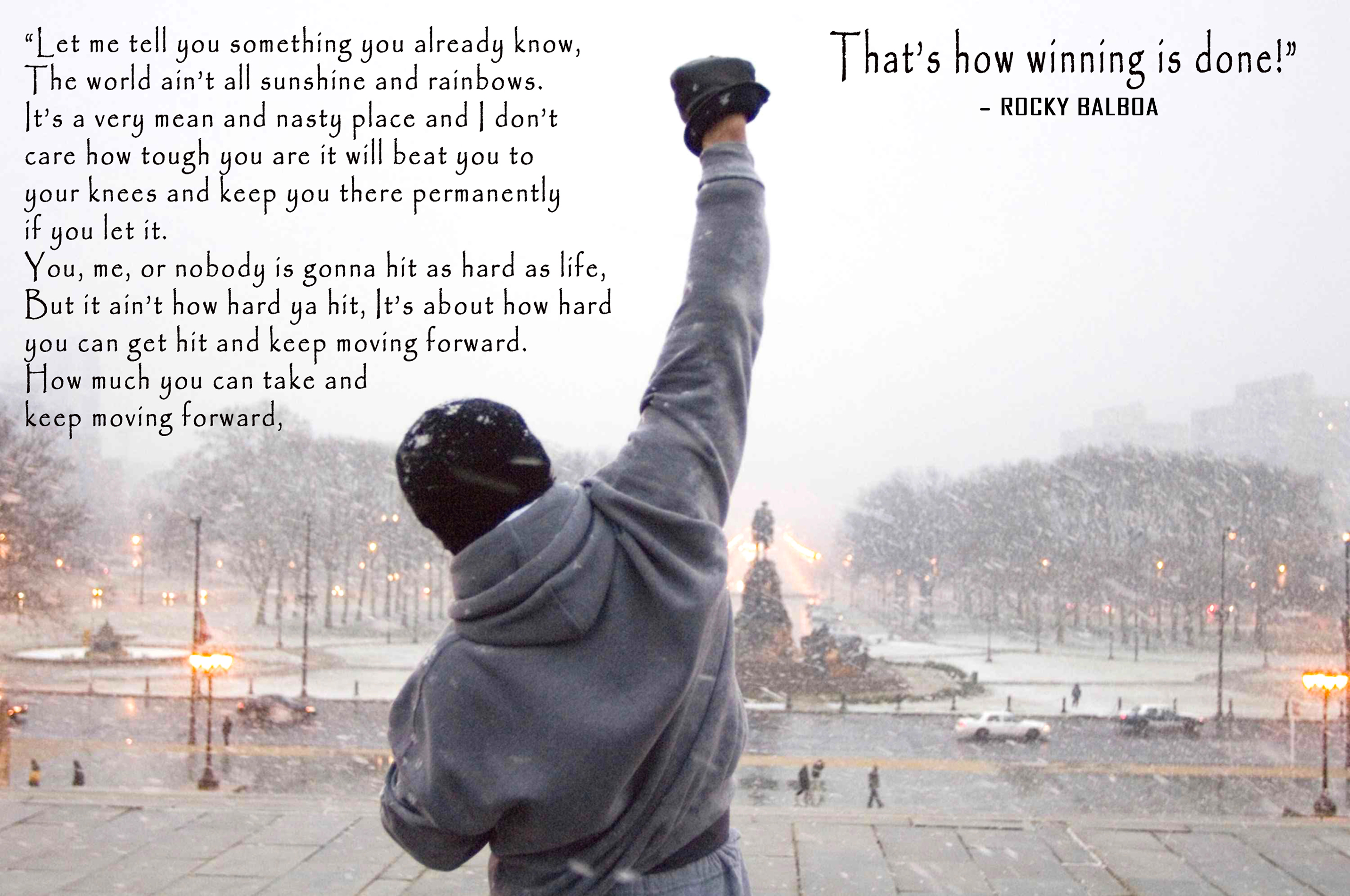 ROCKY BALBOA GYM QUOTE CANVAS WALL ART PICTURE A4 A3 A2 A1 PRINT READY TO HANG