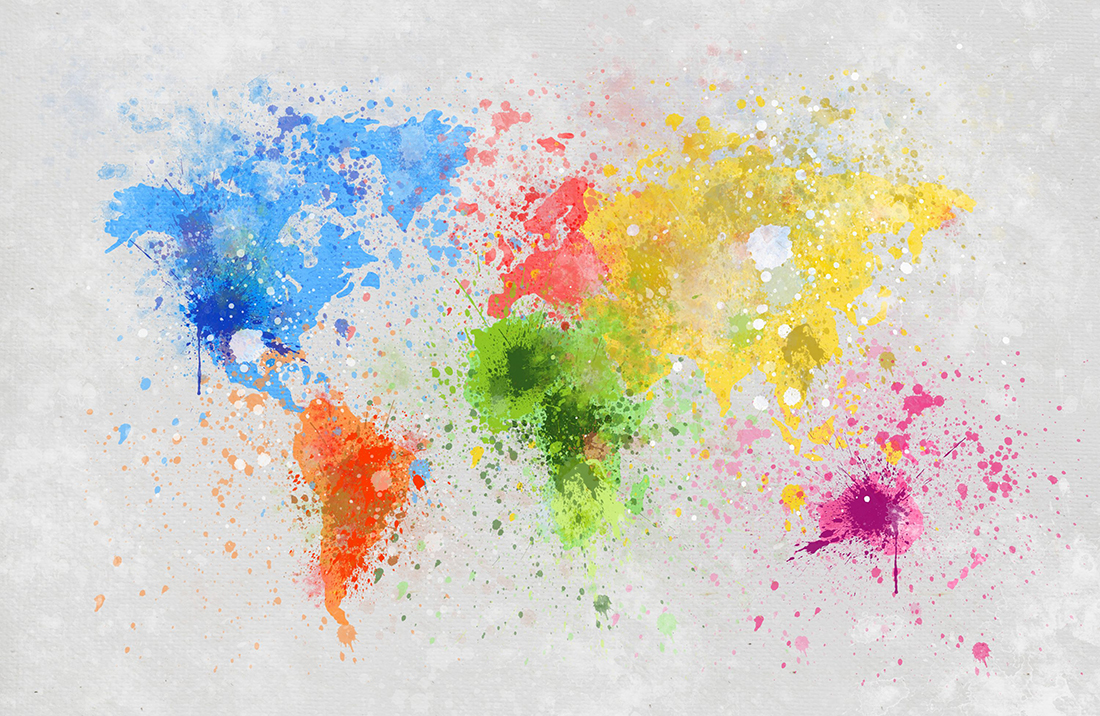 Multicoloured world map paint splatter canvas wall art picture print multicoloured world map paint splatter canvas wall art publicscrutiny Image collections