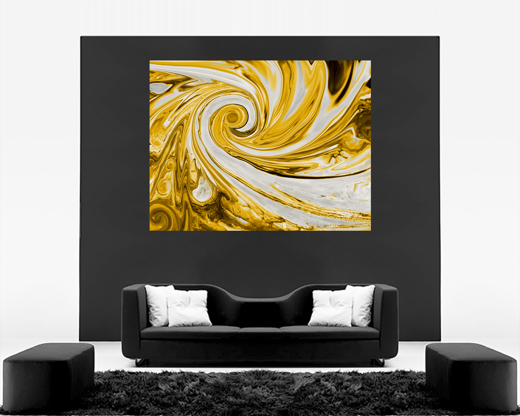 Modern Mustard Yellow and Grey Spiral Swirl Abstract Canvas Wall Art ...